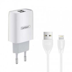 Earldom Power Lightning Cable 1m και 2x USB 2.1A Wall Adapter ES-194 Λευκό
