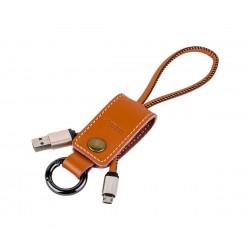 Καλώδιο-Μπρελόκ micro-USB Δερμάτινο Καφέ Remax rc-034m